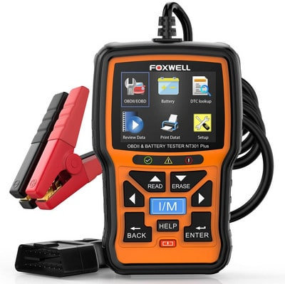 Automotive Load Car Battery Tester and Analyzer, includes OBD data, check engine, and fault codes scanner