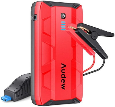 Portable Car Jump Starter, Battery Booster, Power Bank with Dual USB Ports and Flashlight