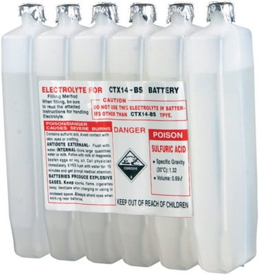 Sealed Battery Electrolyte - Acid for a car maintenance battery
